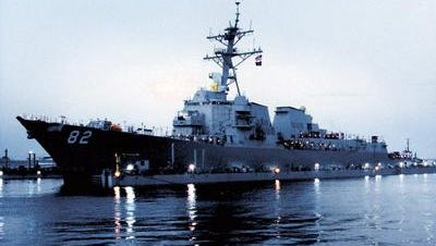 the USS Lassen, shown in 1999, is the 14th Aegis-Class destroyer built by Ingalls Shipbuilding in Pascagoula, Miss. The dedication ceremony for the USS Portland, set for next month, has been moved from Mississippi.