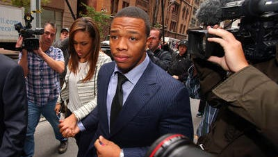 Sports Running back Ray Rice, with his wife, Janay, is eligible to be signed immediately by any NFL team.