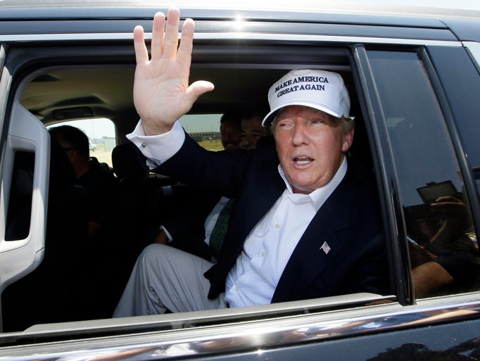 Republican presidential candidate Donald Trump is chauffeured