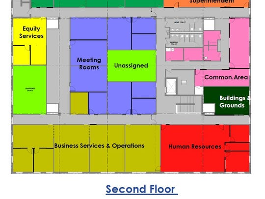 Second-floor renovation plans for the former Minnesota School of Business, which will become St. Cloud school district offices.