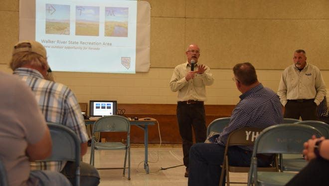 Nevada Division of State Parks administrator Eric Johnson presents to those assembled at the public workshop on the proposed Walker River State Recreation Area on April 19 in Yerington.