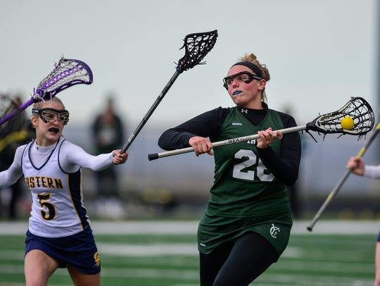 Anna Linthicum of York Catholic shoots a goal while