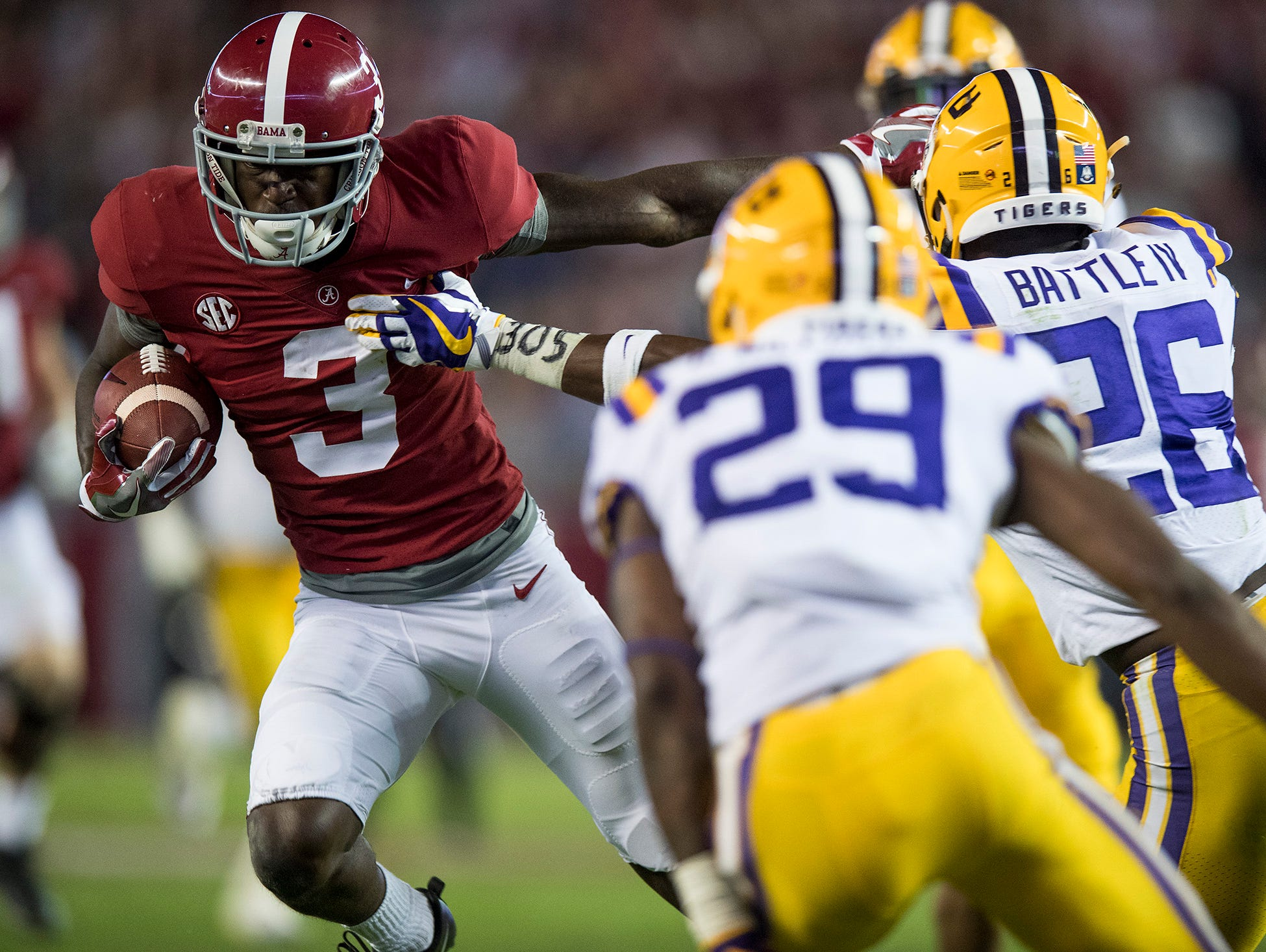 Alabama wide receiver Calvin Ridley (3) against LSU in second half action at Bryant Denny Stadium in Tuscaloosa, Ala. on Saturday November 4, 2017. (Mickey Welsh / Montgomery Advertiser)