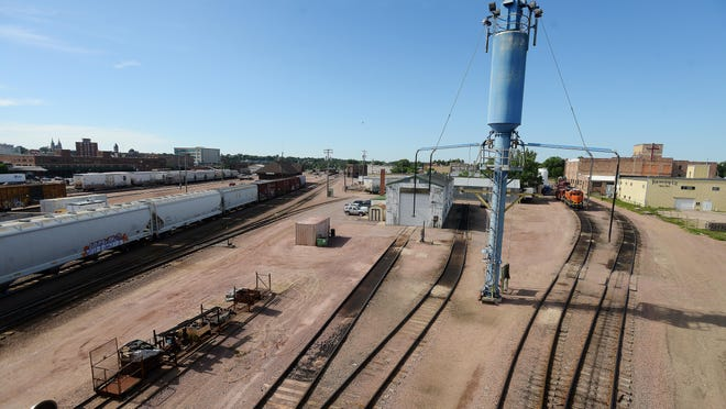 View of the downtown Sioux Falls rail yard from the 10th Street viaduct, July 21, 2015.