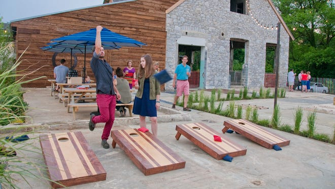 Cornhole and other games are played at The Creamery in Kennett Square, Pennsylvania.