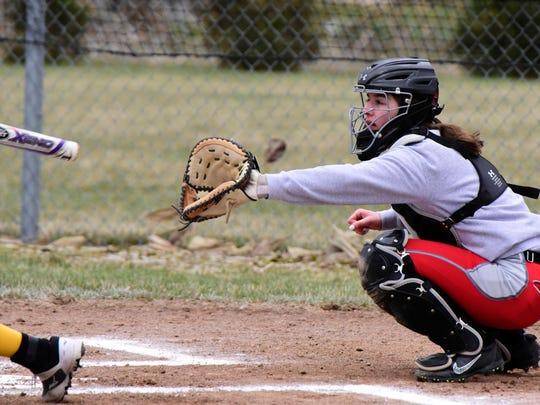 SJCC senior Callie Kelbley is the catcher on the News-Messenger's softball team.