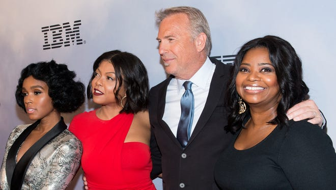 Janelle Monae, Taraji P. Henson, Kevin Costner and Octavia Spencer attend the 'Hidden Figures' screening in New York Saturday.