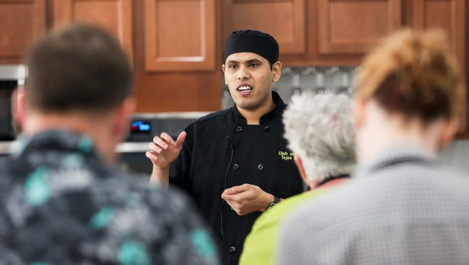 Chef Tejas Modak of Dish on Market leads a cooking class at Cooking at Millie's.