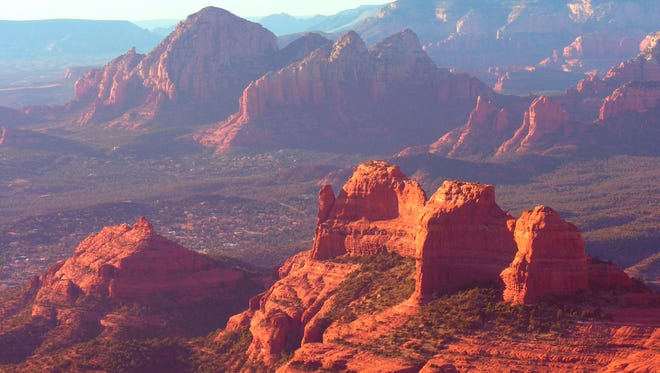Views from the Cow Pies high up on Schnebly Hill Road extend across the red rock expanse of Sedona.