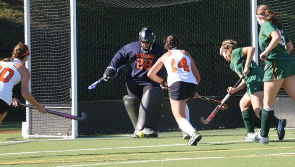 Lakeland goalie Cassie Halpin blocks a shot with  Mamaroneck's