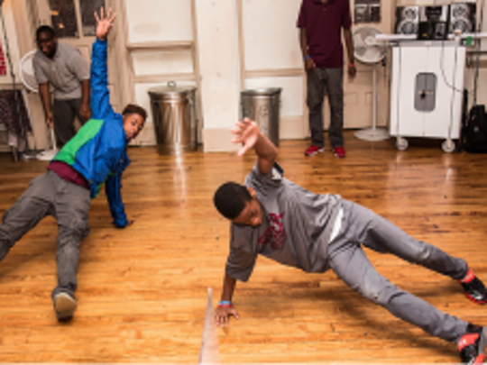 Students from Fitler Academics Plus School in Philadelphia, PA getting out from behind their desks in a Hip-Hop Fundamentals residency lead by YA teaching artists Mark Wong and Steve Lunger.