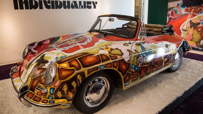 The Janis Joplin 1964 Porsche 356 C Cabriolet at Sotheby's before the 'Driven by Disruption' vintage car auction on Dec 10, 2015 in New York.