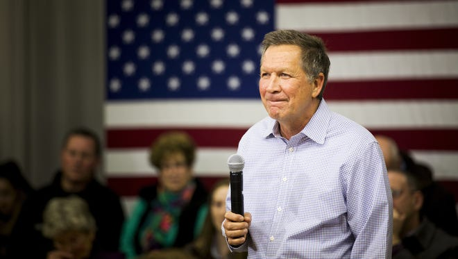 Ohio Gov. John Kasich, shown campaigning for president in New Hampshire. Kasich lost the Republican presidential contest to Donald Trump, but has declined to endorse the billionaire.