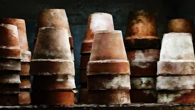 """""""Old Pots"""" by Elaine Frink is one of the pieces featured in the second annual """"Garden Show"""" opening Friday, July 22 at Feat of Clay in Aztec."""