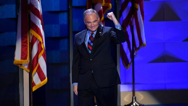 Virginia Sen. Tim Kaine acknowledges the crowd at the Democratic National Convention in Philadelphia on July 27, 2016.