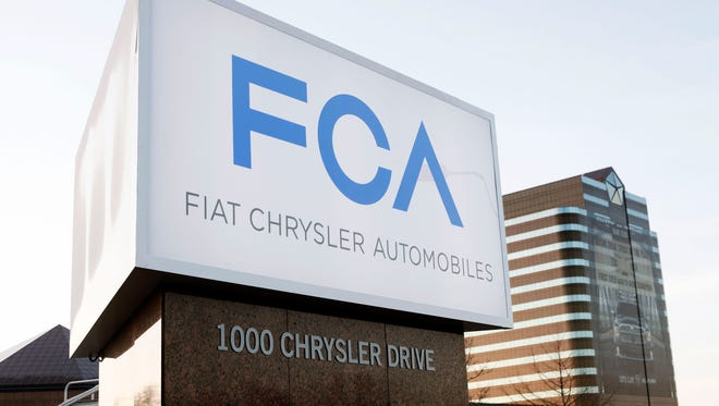 The Fiat Chrysler Automobiles Group sign at the Chrysler Group headquarters May 6, 2014, in Auburn Hills, Mich.