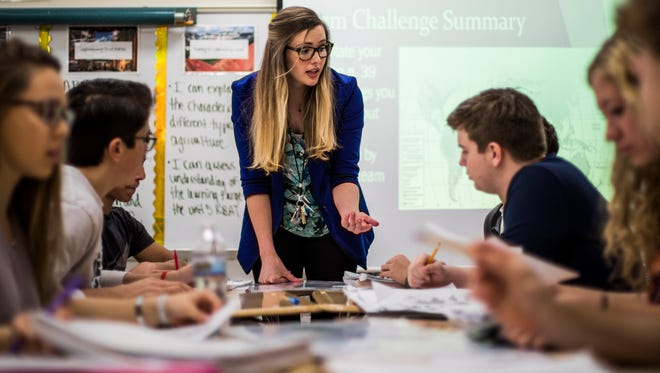 Geography teacher Kristi Neuroth leads her class at Ravenwood High School. Neuroth is Williamson County Schools' teacher of the year at the high school level.
