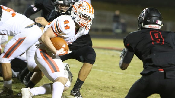 Mauldin's Thomas Tillotson returns a fumble during the Mavericks' game against Hillcrest Oct. 27. Tillotson has been selected to play in the Blue-Gray All-American Bowl at 6 p.m. today at AT&T Stadium in Arlington, Texas.