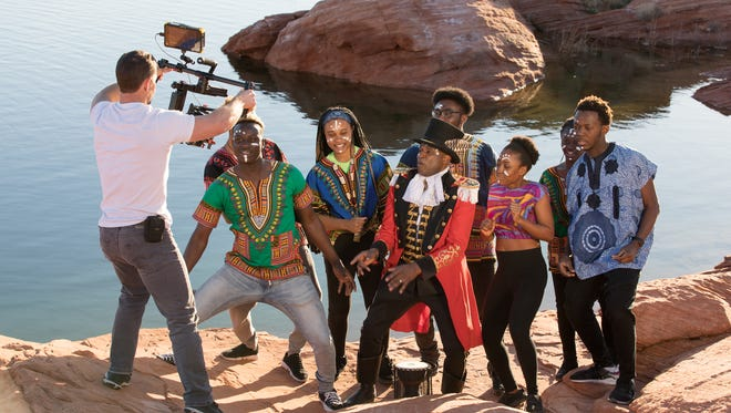 """DSU Films shoots a scene with Alex Boyé and Dixie State University students for Boyé's newest music video, which showcases the university's hands-on academic experience. The video was released at DSU's """"active learning. active life."""" Reveal & Announcement on April 5."""