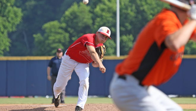 Riverheads' pitcher Elijah Dunlap opens the game at the Virginia High School League Class 1 state baseball championship at Radford University in Radford on Saturday, June 9, 2018.