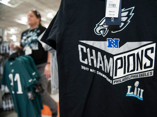 Philadelphia Eagles gear is displayed at Dick's Sporting Goods in Mount Laurel on Monday morning after the Eagles won the NFC Championship game Sunday night.
