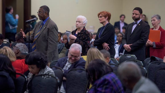 Members line up to take part in discussion as the State Democratic Executive Committee meets in Montgomery, Ala., on Saturday February 4, 2017.
