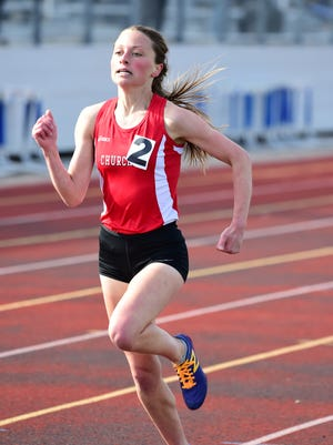 Churchill's Gabby Swider took first in the Observerland 1600m and the 800m run at the New Balance Invite.