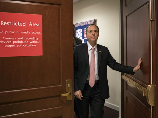 Rep. Adam Schiff, D-Calif., ranking member of the House Intelligence Committee, exits a secure area to speak to reporters, on Capitol Hill in Washington in this file photo. The House intelligence committee is expected to vote to send more than 50 interview transcripts to special counsel Robert Mueller.
