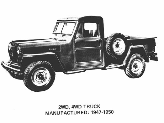 The 1947 Jeep Pickup (1947-1965) was the first Jeep-branded