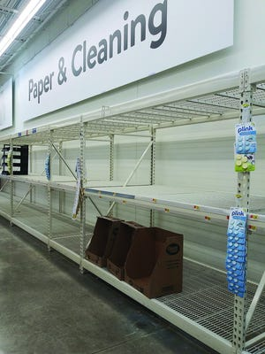 Many customers found empty shelves in the toilet paper aisle at Pratt's Walmart store over the weekend and early in the week. Shipments of such supplies continue to come in but are bought up quickly by anxious residents coming to terms with the reality that COVID-19 is spreading in the state.