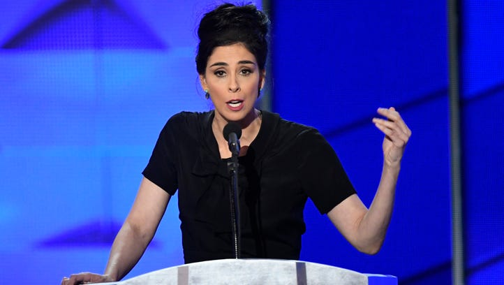 Comedian Sarah Silverman speaks during the 2016 Democratic National Convention at Wells Fargo Arena in Philadelphia.