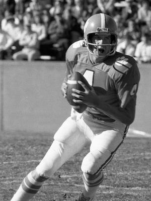 Clemson quarterback Steve Fuller (4) looks to pass against Maryland Saturday, November 15, 1975 at Memorial Stadium in Clemson. The Terps downed the Tigers 22-20.