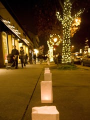 Haddonfield's charming streets are decorated for the holidays and evening shoppers.