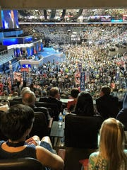 The view from the Tim Kaine family suite at the Democratic