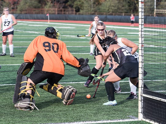 Southern goalie Maddie Leyh (90) makes a stop agains RFH. Rumson-Fair Haven played Southern for the field hockey SCT final held at Raritan High School in Hazlet on Saturday, November 4, 2017. /Russ DeSantis for the Asbury Park Press / Slug:ASB 1105 Field Hockey SCT Final