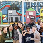 From left, Sarah Duet, Alex Hensley, Diamond Morre, Britney Lee, Deandre Harris, Alex Jackson, Jessie Smith, Tabias Sabbath, and Stephanie Boyd pose in front of the Friendship House mural that they helped paint in Shreveport on March 17.