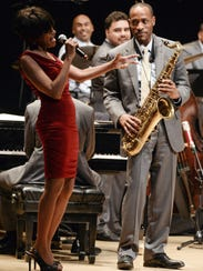 Audrey Shakir and son Walter Blanding in concert.