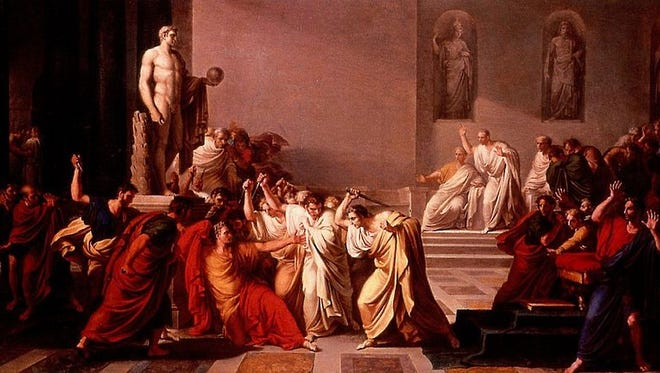 A painting by Vincenzo Camuccini from 1805 showing the death of Julius Caesar. The painting now hangs in the National Gallery of Modern Art in Rome.