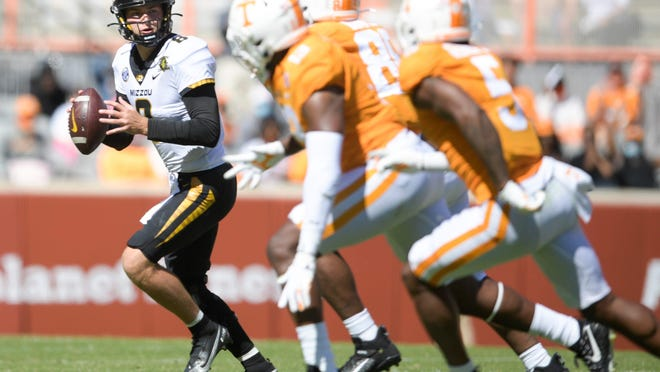 Missouri quarterback Connor Bazelak (8) looks to pass downfield during a Southeastern Conference game Saturday at Neyland Stadium in Knoxville, Tenn.