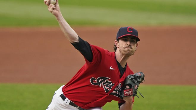 Cleveland Indians starting pitcher Shane Bieber delivers in the first inning against the Chicago White Sox on  Wednesday in Cleveland.