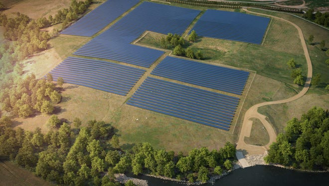 Kentucky's largest universal solar facility, unveiled April 19, is now partially operational and will run at full capacity in June, generating 10-megawatts of power. This rendering, provided by LG&E and KU, shows the plant when fully completed.