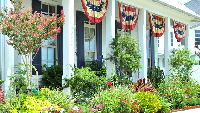 A home in Sugar Mill Pond is decorated for the 4th of July holiday.
