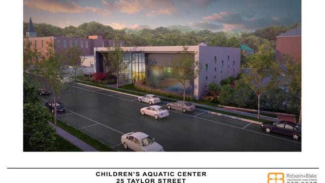 Artist's rendering of  the  children's aquatic center proposed for Taylor Street.
