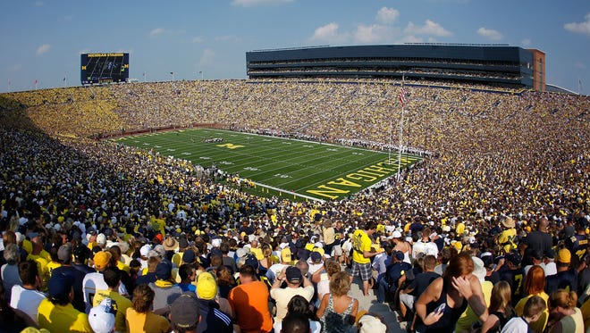 General view of Michigan Stadium during a game between the Michigan Wolverines  and the Western Michigan Broncos on September 3, 2011 in Ann Arbor, Michigan.