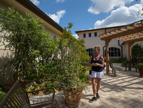Cape Coral resident Melissa Mazuk takes a stroll along