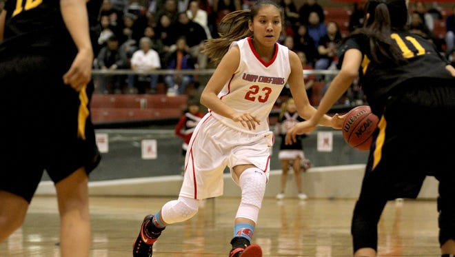 Shiprock's Tanisha Begay dribbles the ball down court against Kirtland Central on Feb. 17 at the Chieftain Pit in Shiprock.