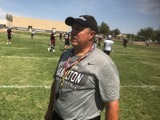 Hamilton football coach Mike Zdesbki after practice