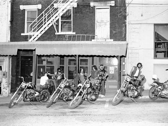 Grim Reaper Motorcycle Club members outside their clubhouse in Newburgh, Ind. in the late 1970's.