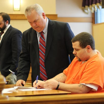 Arron Blevins, left, pleaded guilty to rape Friday
