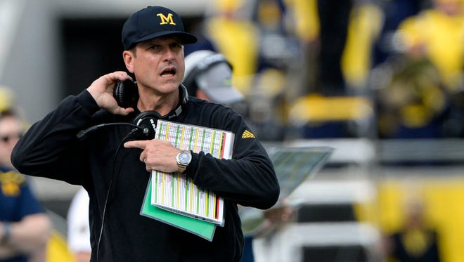 Jan 1, 2016; Orlando, FL, USA;  Michigan Wolverines head coach Jim Harbaugh walks down the sidelines during the second quarter against the Florida Gators  in the 2016 Citrus Bowl at Orlando Citrus Bowl Stadium. Mandatory Credit: Tommy Gilligan-USA TODAY Sports
